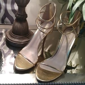 Shoes - BLACK FRIDAY SALE!! Strappy Gold Heels
